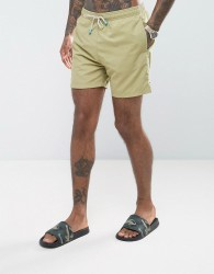 Oiler & Boiler Old Skool Swim Short In Khaki - Green