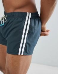 Oiler & Boiler Swim Shorts Side Stripe - Black
