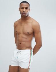 Oiler & Boiler Swim Shorts Side Stripe - White