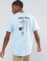 OK-YO Diner Back Print Oversized T-Shirt - Blue