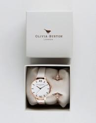 Olivia Burton Bee Mine Leather Watch & Bangle Bracelet OB16GSET04 - Gold