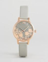 Olivia Burton Grey Lace Detail Midi Leather Watch - Grey