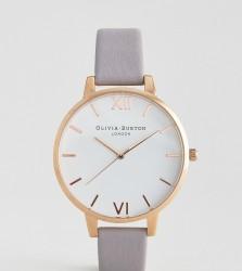 Olivia Burton Grey Lilac Large White Dial Leather Watch - Grey