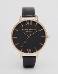 Olivia Burton OB15BD66 Big Dial Leather Watch In Black & Rose Gold - Black