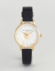 Olivia Burton OB15EG38 3D Daisy Leather Watch In Black - Black