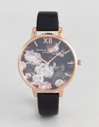 Olivia Burton OB15WG12 Floral Leather Watch In Black - Black