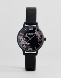 Olivia Burton OB16AD22 After Dark Floral Leather Watch In Black - Black