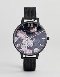 Olivia Burton OB16AD35 Signature Floral Mesh Watch In Black - Black
