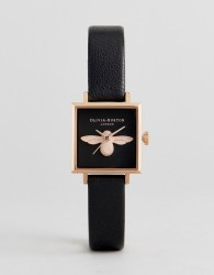 Olivia Burton OB16AM128 3D Bee Square Leather Watch In Black - Black