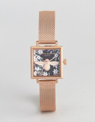 Olivia Burton OB16AM134 Bejewelled Floral Square Mesh Watch In Rose Gold - Gold