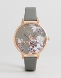 Olivia Burton OB16CS08 Marble Floral Leather Watch In Grey - Grey