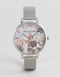 Olivia Burton OB16CS10 Marble Floral Mesh Watch in Silver & Rose Gold - Silver