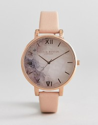 Olivia Burton OB16CS12 Marble Floral Leather Watch - Pink