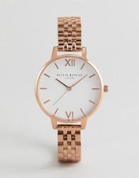 Olivia Burton OB16DEW01 White Dial Bracelet Watch In Rose Gold - Gold