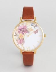 Olivia Burton OB16EG94 Enchanted Garden Leather Watch In Tan - Tan