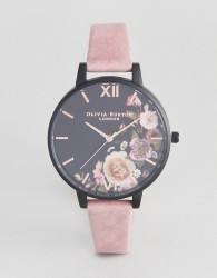 Olivia Burton OB16EM05 Embroidered Dial Leather Watch In Grey - Grey
