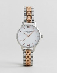 Olivia Burton OB16MDW25 White Dial Bracelet Watch In Mixed Metal - Silver