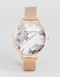 Olivia Burton OB16MF06 Marble Floral Mesh Watch In Rose Gold - Gold