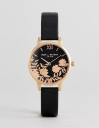 Olivia Burton OB16MV75 Lace Detail Leather Watch In Black - Black