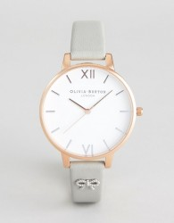 Olivia Burton OB16VB06 Vintage Bow Leather Watch In Grey - Grey