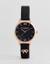 Olivia Burton OB16VB07 Vintage Bow Leather Watch In Black - Black