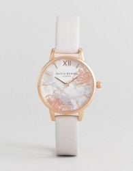 Olivia Burton OB16VM12 Abstract Floral Leather Watch In Blush - Pink