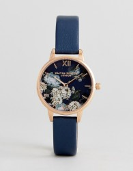 Olivia Burton OB16WG13 Signature Florals Leather Watch In Navy - Navy
