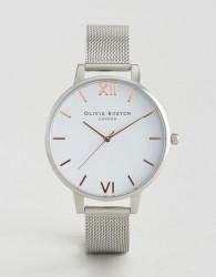 Olivia Burton Silver Large White Dial Mesh Watch - Silver