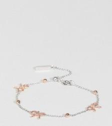 Olivia Burton Silver & Rose Gold Plated Bow & Ball Delicate Bracelet - Multi