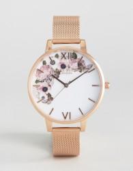 Olivia Burton Winter Garden Rose Gold Mesh Watch - Gold