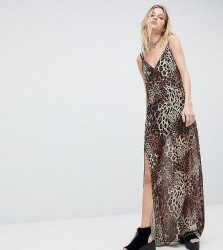 One Above Another 90's Cami Maxi Dress In Sheer Leopard - Brown