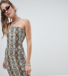One Above Another bodycon bandeau dress in snake print - Multi