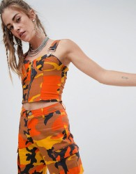 One Above Another Crop Top With Zip In Camo Co-Ord - Orange