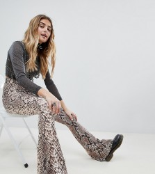 One Above Another Flare Trousers In Snake Print - Brown