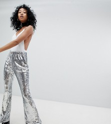 One Above Another Flares In Sequin - Silver