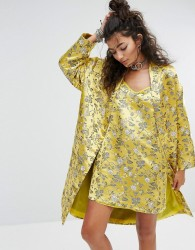 One Above Another Kimono In Brocade Co-Ord - Yellow