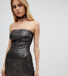 One Above Another mini bandeau dress in metallic faux snake - Brown