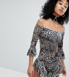 One Above Another Off Shoulder Playsuit With Frills In Velvet Leopard - Brown