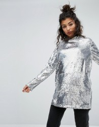 One Above Another Oversized Hoodie In Sequin - Silver
