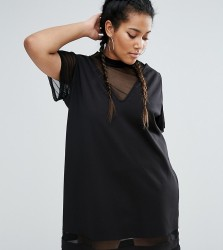 One One Three 2 In 1 Shift Dress With Mesh Insert - Black