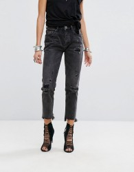 One Teaspoon Awesome Baggies Highwaisted Jean with Rips and Raw Hem - Black