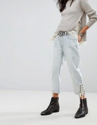 One Teaspoon Eagles Boyfriend Jeans With Lace Up Ankle - Blue