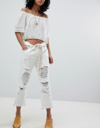 One Teaspoon FESTIVAL Hooligans Low Waist Relaxed Straight Leg Jean with Rips - White
