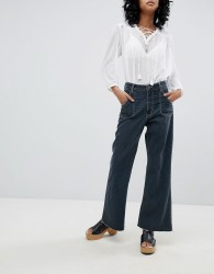 One Teaspoon High Waisted Cropped Wide Leg jean with Contrast Stitching - Black