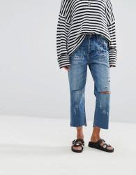 One Teaspoon Hooligan Crop Flare Jeans with Raw Hem - Blue