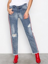 One Teaspoon H/W Straight Leg Jea Jeans Blå