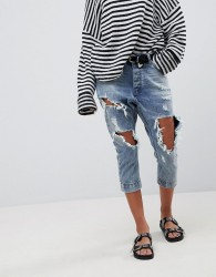One Teaspoon Kingpins Cropped Boyfriend Jean With Extreme Distressing - Blue