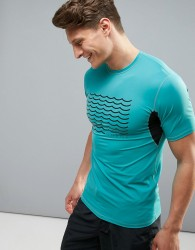 O'Neill Evolver Slim Fit T-shirt with Front Logo and Mesh Detail in Bliue - Blue