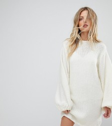 OneOn Hand Knitted Balloon Sleeve Dress - Cream