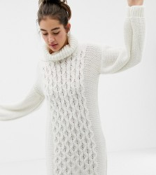 OneOn hand knitted cable jumper dress with roll neck - Cream